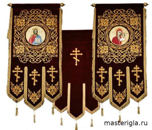 khorugv-barkhatnaya-sinyaya-strogiy-uzor-SpasVsederzhitel-ikona