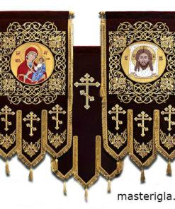 khorugv-barkhatnaya-sinyaya-strogiy-uzor-Spasnerukotvornyy-ikona