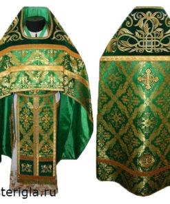 Зеленое иерейское облачение Плетеный крест
