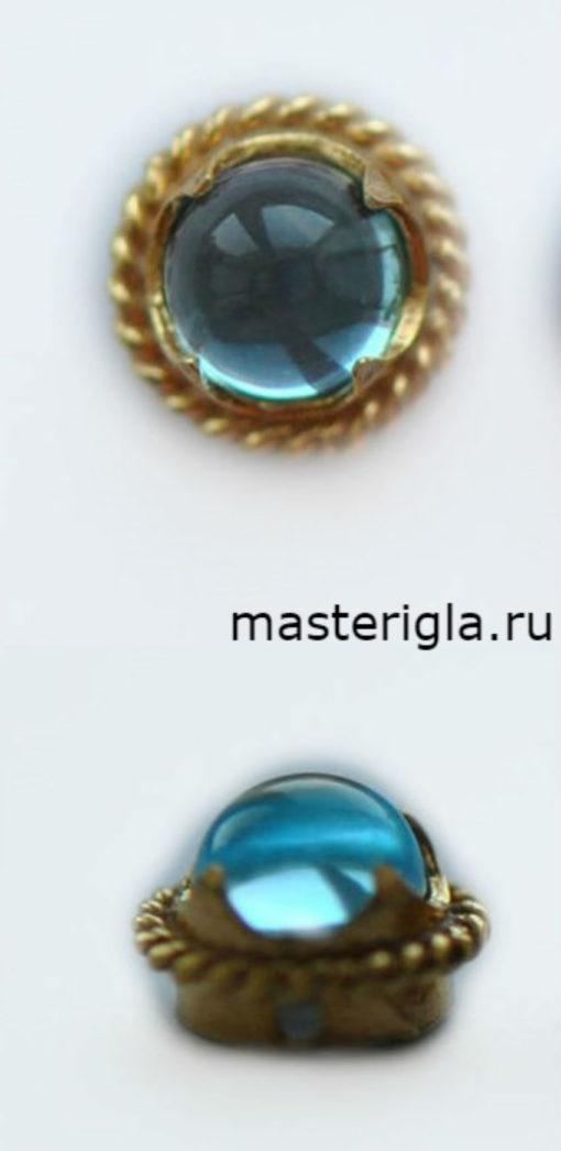 топаз голубой в оправе для вышивки